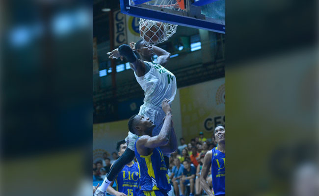 Toughen up. Gary Cortes wants his import Basierru Sackour and the rest of the UV players to bulk up for the tough PCCL grind. (SunStar Photo/Amper Campaña)