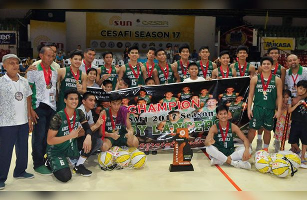 Champions again. Members of the UV Baby Lancers and their coaching staff celebrate their first Cesafi title since 2011. (SunStar Foto/Arni Aclao)